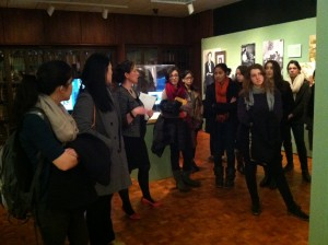 Curator Jennifer Redmond, Director, The Albert M. Greenfield Digital Center for the History of Women's Education, introduces students to the Taking Her Place exhibition on the first day of the semester.