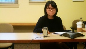 Xingzhe He interviewing Kimberly Blessing '97.