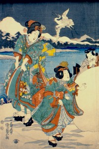 Utagawa Kunisada II, Mitsuji Near a Carriage in the Snow, ca. 1851 (detail). Bryn Mawr College Special Collections; gift of Margery Hoffman Smith, Class of 1911.