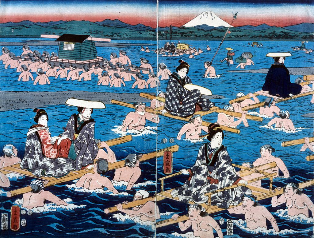 Katsushika Shigenobu, Bathing Scene, n.d., Bryn Mawr College Special Collections, gift of Margery Hoffman Smith, Class of 1911