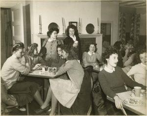 Students at tea in Wyndham, ca.1945