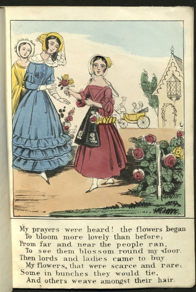 The orphan girl sells a bunch of flowers to a well-dressed lady. A fashionable coach appears in the background.