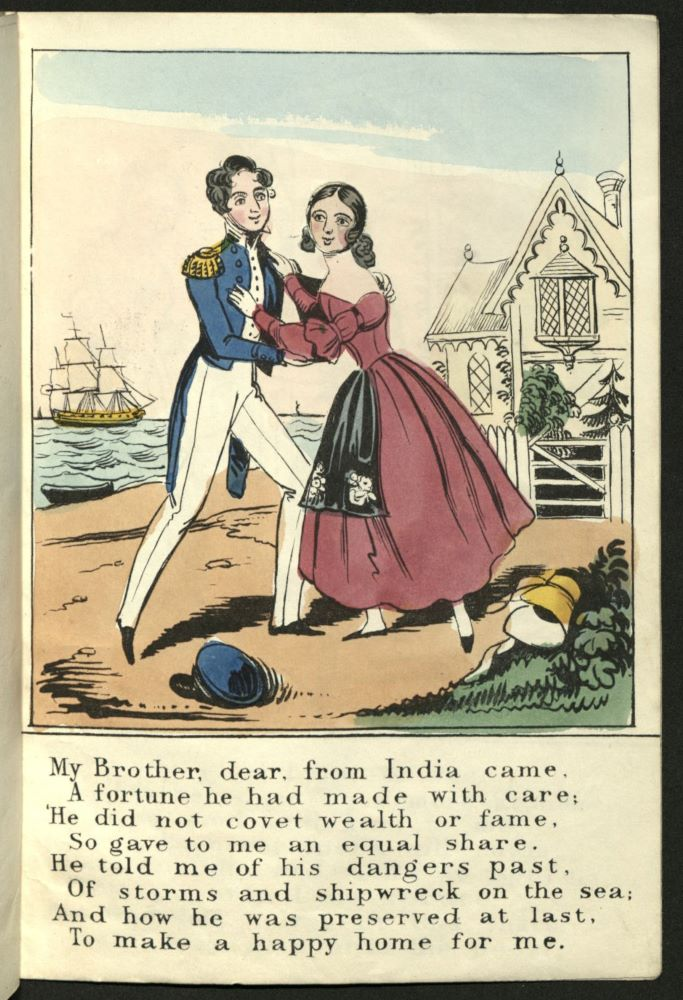 The brother, dressed in naval uniform embraces his sister at the cottage. A ship in full sail appears in the background.