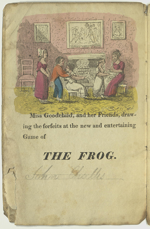 Miss Goodchild, and her friends, drawing forfeits at the the new and entertaining Game of THE FROG