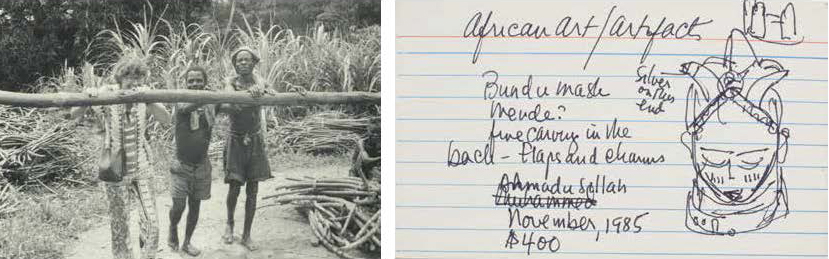 Photograph of Jane Martin and workers at Nyema Smith's sugar cane production in Liberia (April 15, 1976); Catalog Card written by Jane Martin (c. 2000) from The Jane Martin Papers, Bryn Mawr College Archives