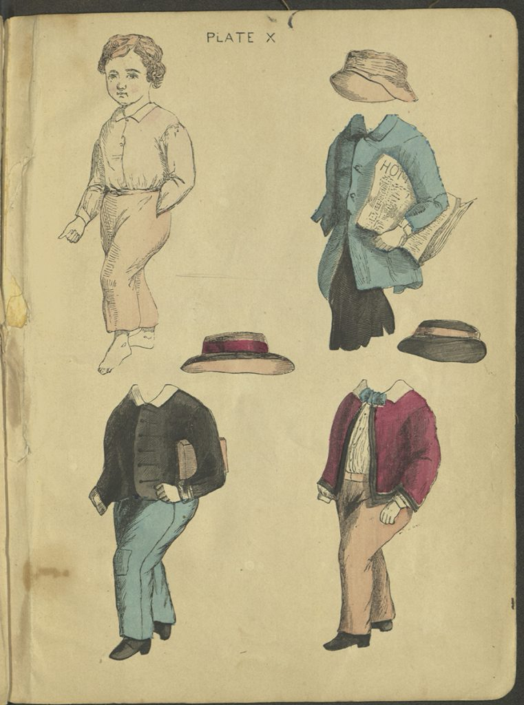 Plate X. A boy doll and three outfits