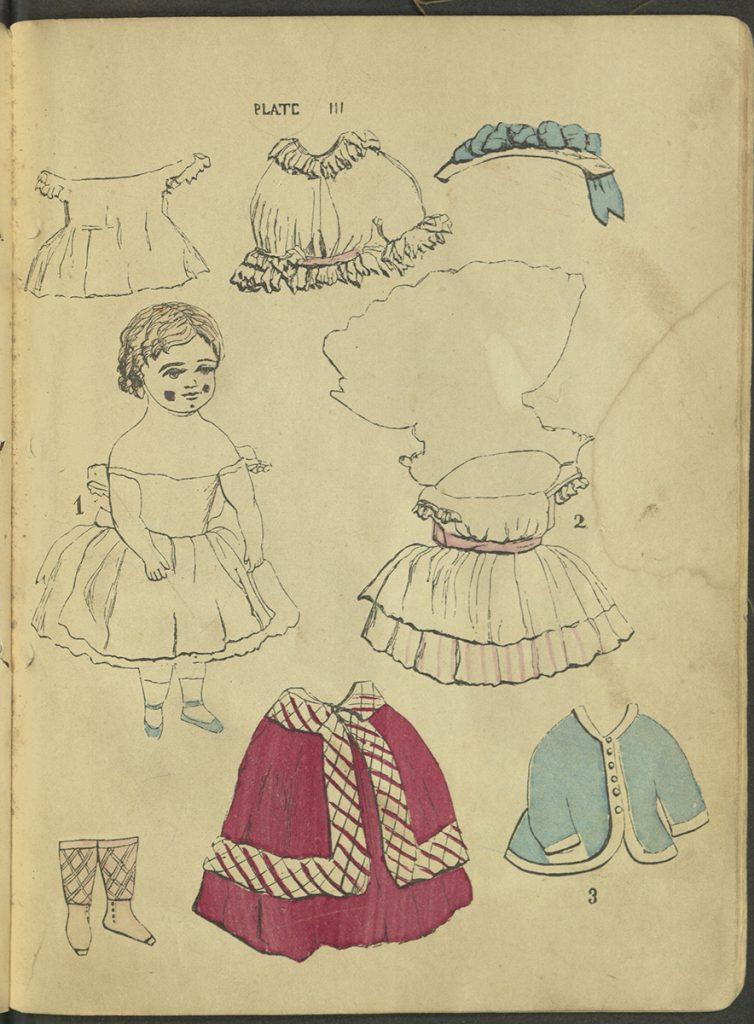 Plate III. Doll and a variety ofgarments, including a frock shown with front and back attached at the shoulders