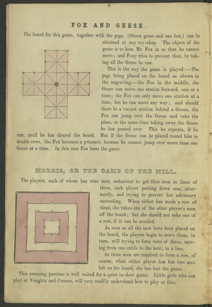 "page 4. ""Fox and Geese"" and ""Morris"" board games"