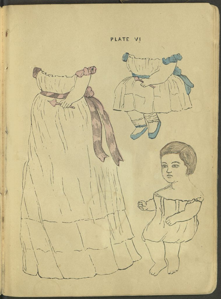 Plate VI. An infant with a long robe and an outfit with a shorter skirt