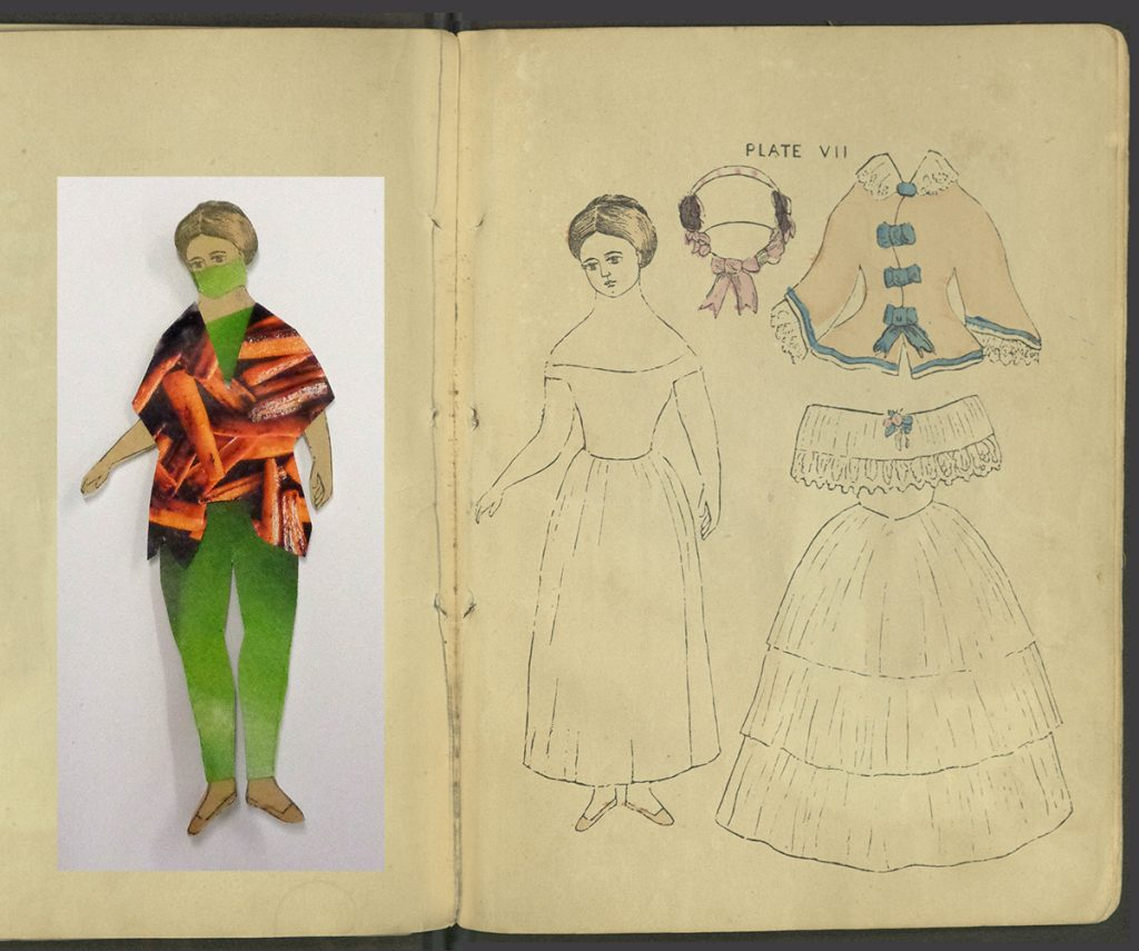 Plate VII. A teenaged doll with bonnet, coat, and ball gown. A modern doll, with costume, based on the original, is shown next to the plate.