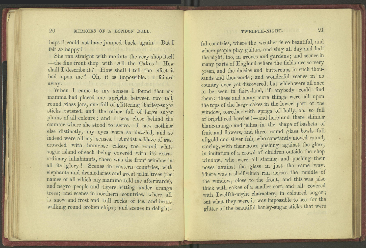 Pages 20-21, describing the pastry shop at Twelfth Night.