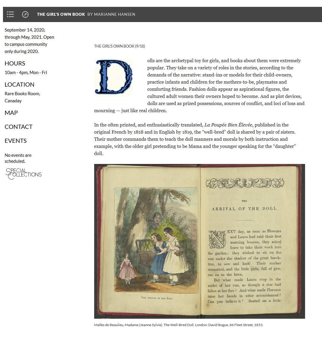 Screenshot of the online version the the exhibition, The Girl's Own Book