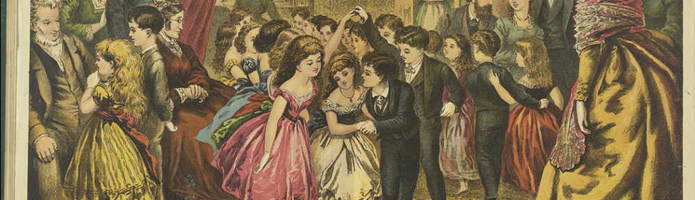 Large party in a domestic interior. Boys and girls dance together while adults look on. A woman plays the pianoforte in the background and a maid brings in refershments