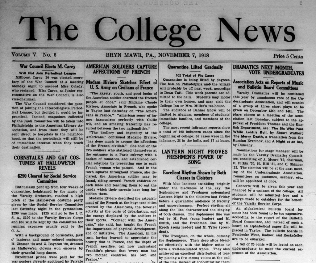 Page from the Bryn Mawr College News