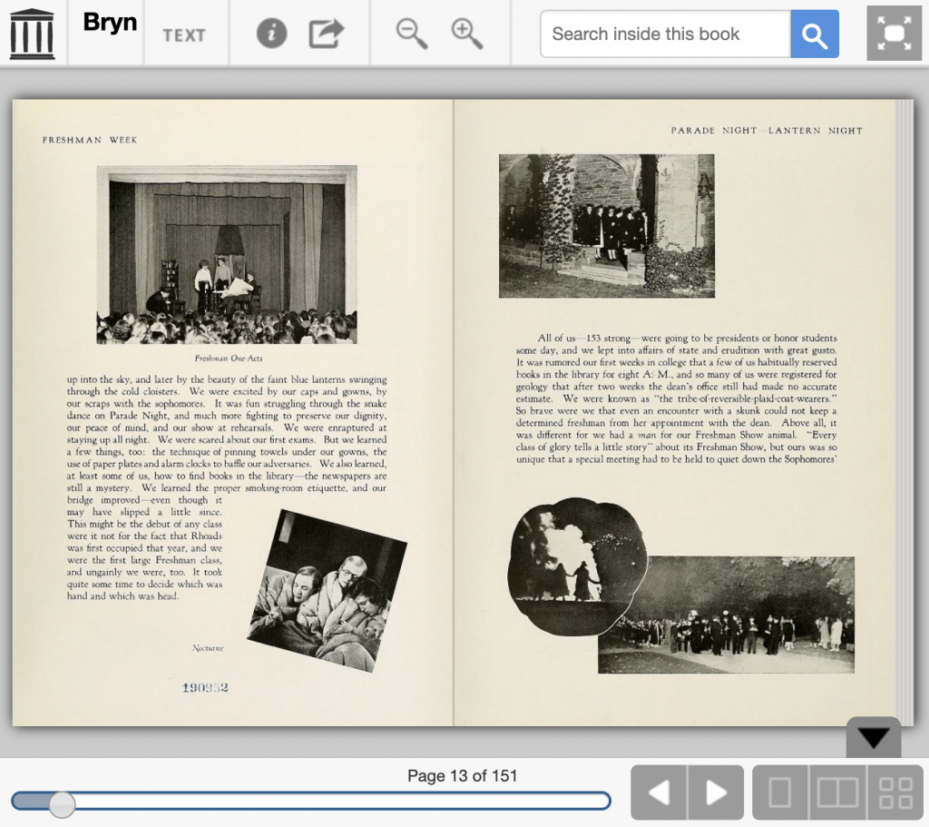Pages from 1942 Bryn Mawr College yearbook