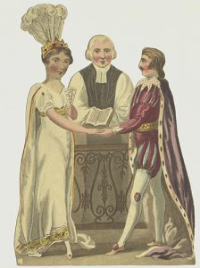 Paper doll costume and head, Cinderella's wedding
