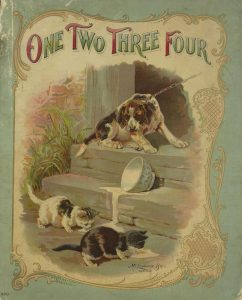 Cover of the book One Two Three Four. A leashed dog at the top of a short stairs barks at two kittens who are drinking milk from an spilled bowl on the step between them and the dog.