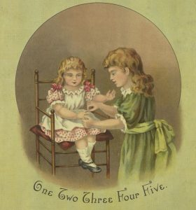 """Image from a book cover with a girl about eight years old, counting the fingers of a toddler. Below is written """"One Two Three Four Five."""""""
