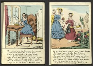 Pages from The Orphan Girl, showing the protagonist praying and selling flowers