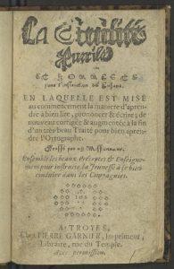 Title page of the book La civilité puérile et honneste pour l'instruction des enfans.